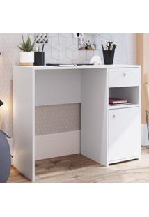 Mesa Escrivaninha 1 Porta 1 Gaveta Es908 Branco - Art In Móveis