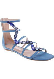 Sandália Rasteira Com Pedrarias - Azulschutz