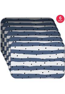 Jogo Americano Love Decor Wevans Listras Azuis Kit Com 6 Pçs