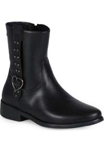 Ankle Boots Infantil Pampili Safira Coração Preto