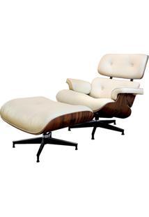 Poltrona Charles Eames C/ Puff Creme Base Em Aluminio - 6753 Sun House