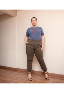 Calça Ashua Sarja Jogger Curve E Plus Size Verde