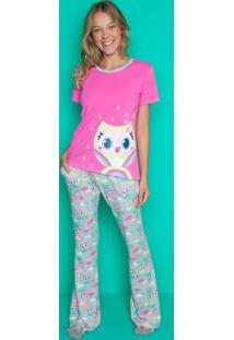 Pijama Manga Curta Puket Coruja Rosa E Cinza Rosa