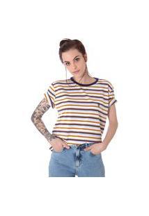Camiseta Unissex Operarock Listrada Mostarda