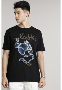 Camiseta Masculina Gênio Aladdin Manga Curta Gola Careca Preta