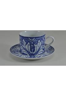 Conjunto De Xicaras Para Chá C/ Pires Porcelana Schmidt 06 Peças - Dec. Azulejo