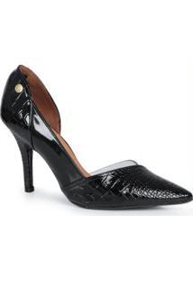 Sapato Scarpin Vizzano Croco Preto Preto