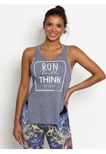 Regata ''Run Breathe Think Relax'' - Cinza & Branca-Physical Fitness