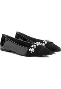 Sapatilha Couro Shoestock Bico Fino Pedraria Feminina - Feminino-Preto