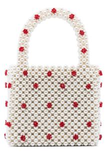Shrimps Bolsa Tote Dolly Mini Com Pérolas - Neutro