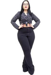 Calça Jeans Feminina Cambos Plus Size Flare Lya Feminina - Feminino-Preto