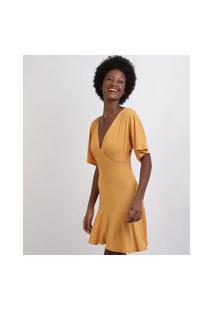 Vestido Feminino Curto Com Babado Manga Curta Decote V Amarelo