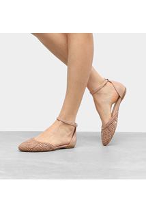 Sapatilha Shoestock Semi Aberta Bordado Feminina - Feminino-Nude