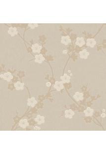 Papel De Parede Floral- Bege & Prateado- 1000X52Cm