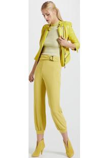 Calça De Malha Texturizada Com Faixa Amarelo Yoko