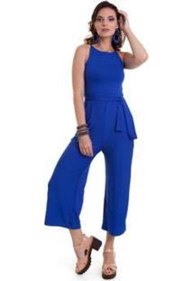 Macacão Manola Pantacourt Bic Feminino - Feminino-Azul