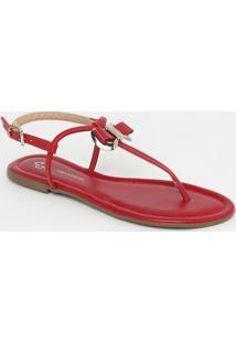 Sandália Rasteira Com Laço- Vermelho Escurocapodarte