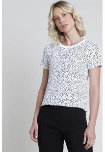 Blusa Feminina Estampada De Poá Manga Curta Decote Redondo Branca