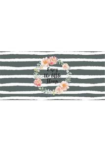 Tapete Transfer Listrado & Floral- Cinza Escuro & Bege Ctapetes Junior