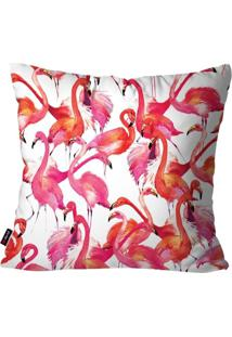 Capa De Almofada Decorativa Avulsa Branco Flamingos 45X45Cm Pump Up