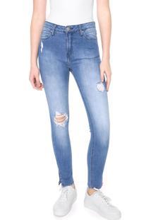 Calça Calvin Klein Jeans Skinny Destroyed Azul