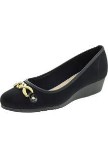 Sapato Feminino Salto Baixo Moleca - 5156439 Preto/Camurça