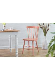 Cadeira Para Mesa De Madeira Folk Laqueada Rosa Coral 45X46X83Cm