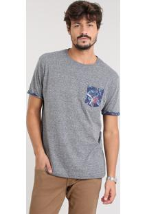 Camiseta Masculina Com Bolso Estampado Manga Curta Gola Careca Cinza Mescla Escuro