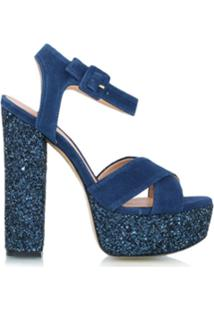 Luiza Barcelos Sandália Meia Pata De Glitter - Azul