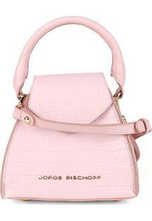 Bolsa Couro Jorge Bischoff Mini Bag Com Textura Feminina - Feminino-Rosa