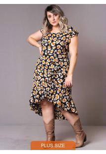 Vestido Mullet Onça Plus Size Preto