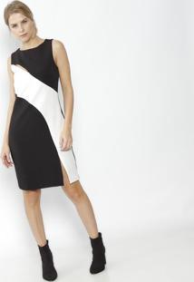 a6da3ffb6f -51% Vestido Com Recortes- Preto   Brancocalvin Klein