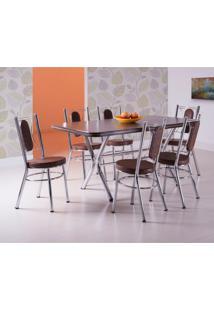 Conjunto De Mesa De Jantar Com 6 Cadeiras Portico Ameixa Negra E Tabaco