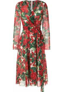 Dolce & Gabbana Vestido Envelope De Seda Estampado - Vermelho