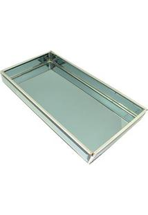 Bandeja Retangular Decorativa Btc Em Vidro 3,5 X 34 X 18 Cm - Verde