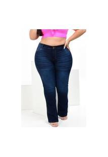 Calça Plus Size Flare Alleppo Jeans Kamily Escura