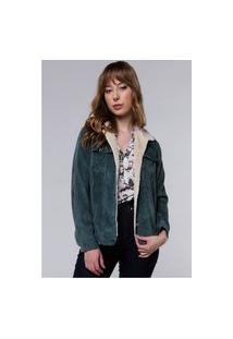 Jaqueta Vintage Em Cotelê Com Gola De Pelinhos Sob Com Bolsos Verde