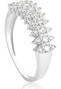 Anel De Ouro Branco 18K Meia Aliança Navetes De Diamantes