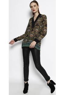 Blusa Floral Translãºcida- Amarela & Verde- Cotton Cocotton Colors Extra