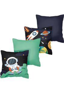 Kit Com 4 Capas Para Almofadas Infantis Astronauta Armonizzi