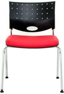 Cadeira Rombo Cromada Encosto Preto Assento Vermelho - 30372 - Sun House