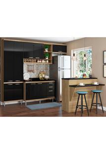 Cozinha Compacta 6 Peças 5846 Sicília - Multimóveis - Argila / Preto