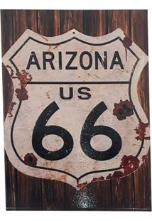 Quadro Decorativo Sala Metal Arizona Us 66 Marrom 29X22X1Cm - Amarelo - Dafiti