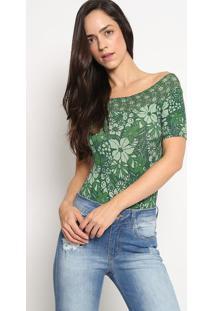 Body Canelado Floral- Verde & Verde Claro- Colccicolcci