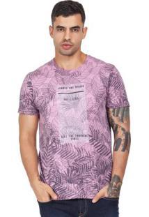 Camiseta Folhagens Rosa