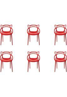 Kit 6 Peças Cadeira Allegra Masters De Polipropileno Rivatti Vermelha