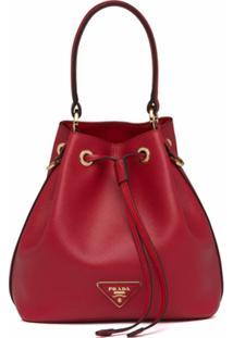 Prada Bolsa Saco Com Patch Triangular - Vermelho