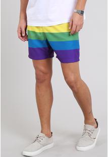 Short Masculino Pride Estampado Arco-Íris Com Bolso Multicor