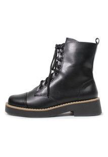 Bota De Cano Curto Damannu Shoes Shannon Napa Preto