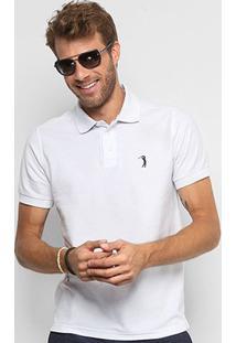 Camisa Polo Aleatory Piquet Bordado Masculina - Masculino-Branco